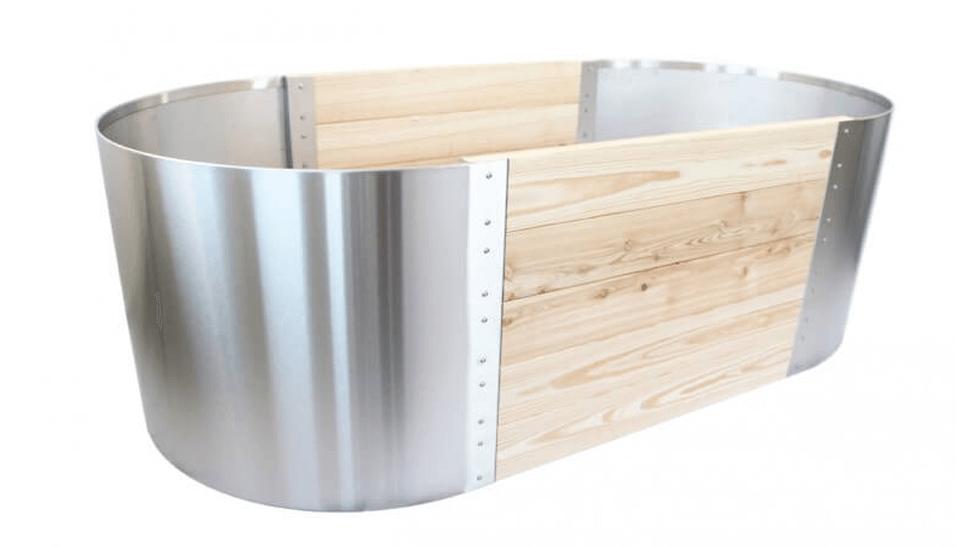 Holz und Metall als Hochbeet-Kombination