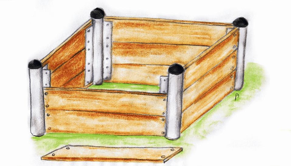Hochbeet aus Metall und Holz